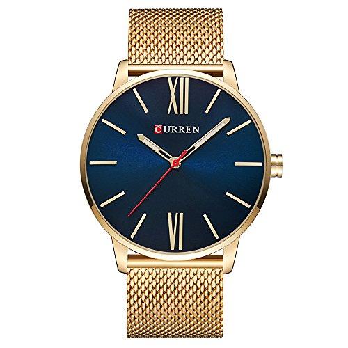 Curren Men Watches Top Brand Ultra thin Dial Luxury Quartz Men Watch Waterproof Casual Sport (Gold ; Dial color - Blue)