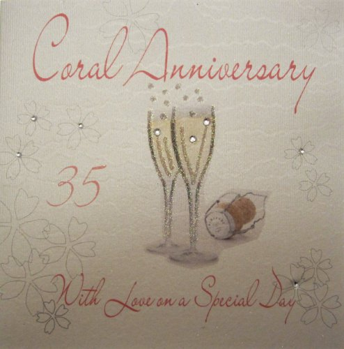 white cotton cards WA35 Champagne Glases Coral Anniversary Handmade 35th Anniversary Card, White