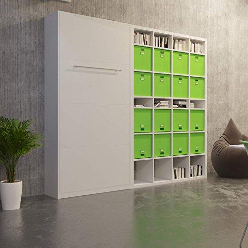 klappbett schrankbett murphy bed wandbett wall bed 90x200 vertikal wei bettmix. Black Bedroom Furniture Sets. Home Design Ideas
