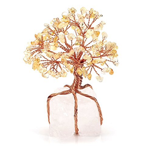 Golden Citrine Crystal - CrystalTears Citrine Crystal Money Tree Feng Shui Ornament Copper Wrapped on Clear Quartz Cluster Base Figurine Decoration for Wealth and Luck