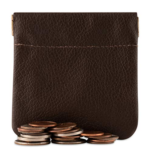 - Classic Leather Squeeze Coin Purse change Holder For Men, Pouch size 3.5 in X 3.25 in. high, Brown