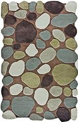 NuLoom Pebbles Contemporary Handmade Wool Pebbles Cobblestone 5 Foot x 8 Foot Wool Area Rug, Brown