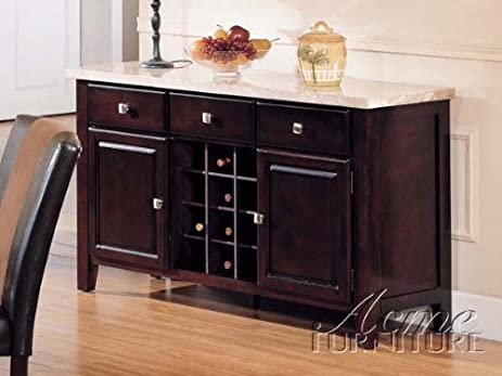 Server Sideboard With Marble Top And Wine Rack In Espresso Finish