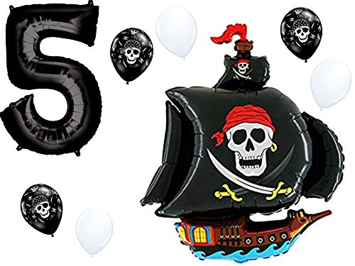 Pirate Ship Birthday Balloon Decorations with Black #1-9 Number Bundle: 36