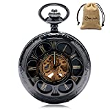 Mens Steampunk Automatic Mechanical Skeleton Hollow Fashion Self Wind Pocket Watch Roman Numerals Chain