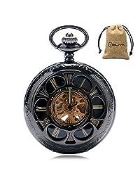 YISUYA Half Hunter Steampunk Auto Automatic Mechanical Pocket Watch with Chain Men