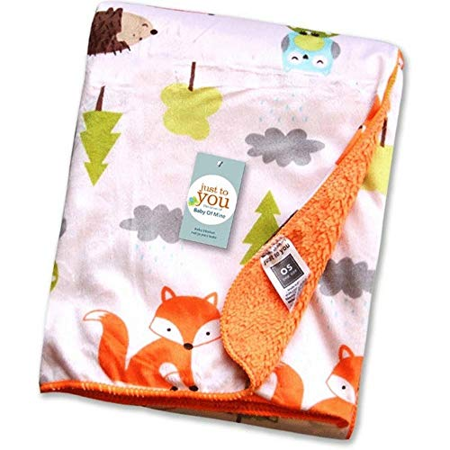 Fox Baby Fleece Cosy Blanket Fuzzy Blanket or Fluffy Blanket for Baby Girl or boy, Soft Warm Cozy Coral Fleece Toddler, Infant or Newborn Receiving Blanket for Crib, Stroller, Travel 3040