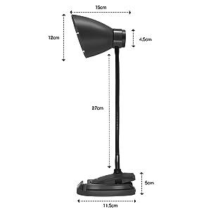 TUXWANG Desk Lamp Lampes de lecture à LED avec soin des yeux et commandes tactiles 3 modes d'éclairage avec support pour téléphone, support 2 en 1, montage simple