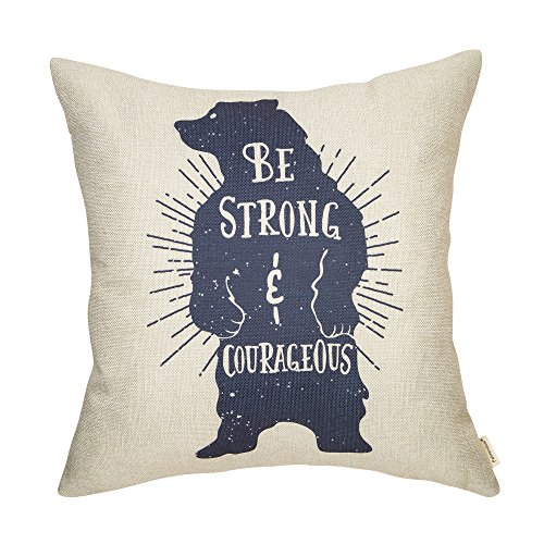 - Fahrendom Woodland Style Vintage Bear Be Strong and Courageous Rustic Nursery Décor Cotton Linen Home Decorative Throw Pillow Case Cushion Cover with Words for Sofa Couch, 18 x 18 in