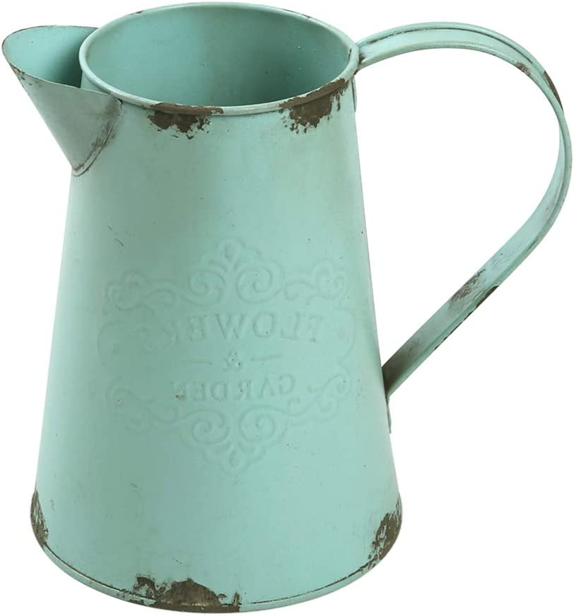 WHHOME Shabby Chic Watering Can Galvanized Finish Metal Vase Primitive Jug Country Rustic Pitcher Decorative Flower Holder, 7.5