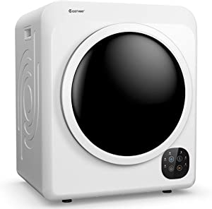 COSTWAY 1700W Electric Portable Clothes Dryer, 13.2 lbs Capacity Front Load Compact Tumble Laundry Dryer with Stainless Steel Tub, Easy Control Button Panel Downside for Variety Drying Mode, White