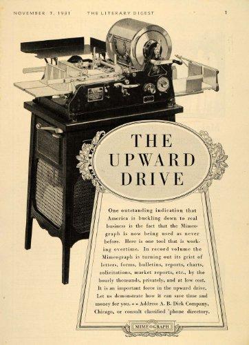 1931 Ad Vintage Mimeograph Machine A. B. Dick Antique - Original Print Ad