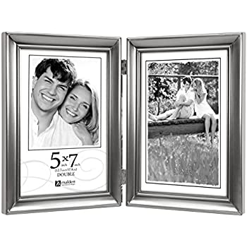 malden international designs concourse pewter metal hinged picture frame double vertical 2 5x7 silver