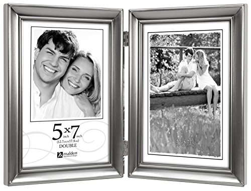 Malden International Designs Concourse Pewter Metal Hinged Picture Frame, Double Vertical, 2-5x7, Silver