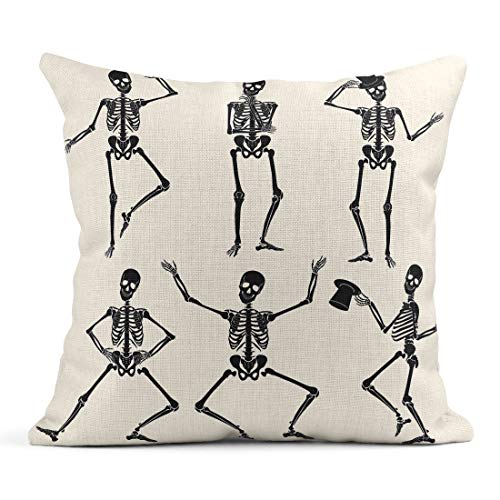 Emvency Decor Flax Throw Pillow Covers Case Human Dancing Skeletons Different Poses Scary Funny Party People Abstract 18