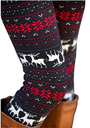 Mother and Daughter Christmas Multi-Colored Snowflake Reindeer Pattern Footless Leggings Pants