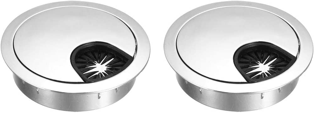 """uxcell Cable Hole Cover, 2-1/8"""" Zinc Alloy Desk Grommet for Wire Organizer, 2 Pcs (Bright Silver)"""