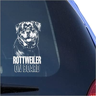 Rottweiler Clear Vinyl Decal Sticker for Window, Rottie Dog Sign Art Print: Automotive