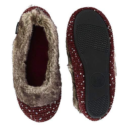 Sweater Ballerina Knit ISOTONER Women's Slipper Henna Sequin wTz1xAq1v