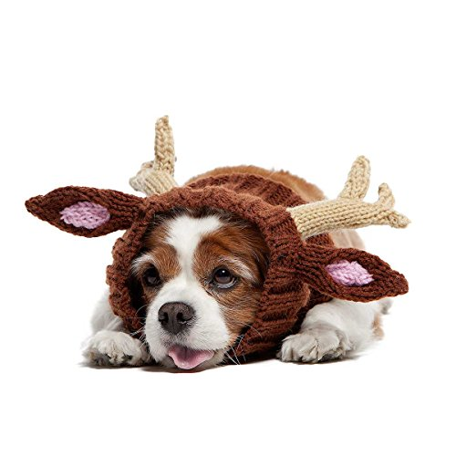 Zoo Snoods Reindeer Dog Costume - Neck and Ear Warmer Headband Protector (Small)