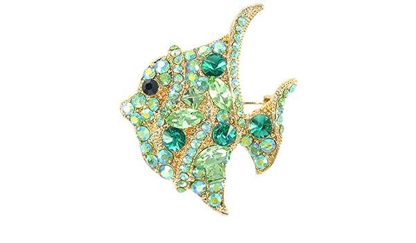 Gyn/&Joy Aurora Borealis Green Crystal Tropical Ocean Fish Sea Animal Clown Fish Lapel Brooch Pin BZ250