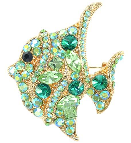 (Gyn&Joy Aurora Borealis Green Crystal Tropical Ocean Fish Sea Animal Clown Fish Lapel Brooch Pin BZ250)