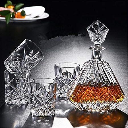 Juego de 5 copas de whisky para bar o fiesta con tapón ornamentado y 4 exquisitos vasos de cóctel (color azul marino).