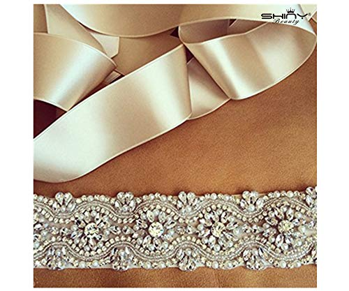 ShinyBeauty 30%, Crystal Rhinestone & Pearl Bridal Sash, Wedding Belt, Ivory Crystal Bridal Sash, 17