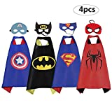 RioRand Heros Dress Up Costumes 4 Pack Satin Capes with Felt Masks for Boys