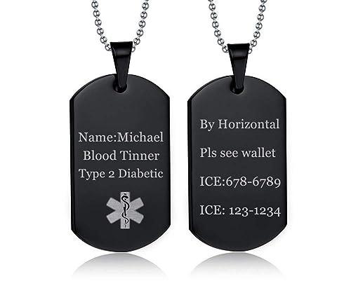 Amazon.com: NJ - Collar de alerta médica personalizable para ...