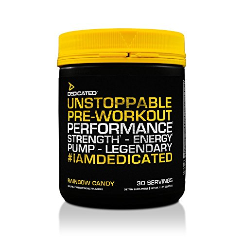 Dedicated Nutrition Unstoppable Pre-Workout, Rainbow Candy, 11.11 Ounce