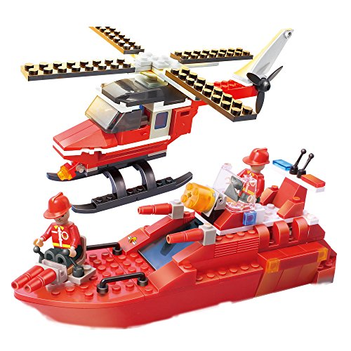 Helicopter Boat Building Bricks Blocks Rescue Toy for Kids Boys 6 Years Old Up 202 Pieces, Funny Basic Bricks Set Kit Compatible for Birthday Christmas Santa Party Favor COGO Fire Fighter 3607