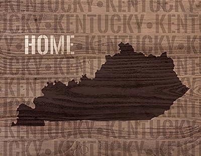 Kentucky State Home Shape Design 12 x 16 Wood Lath Wall Art Sign Plaque