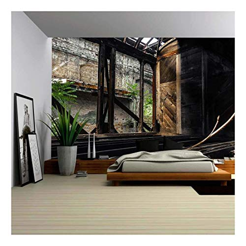 Train Mural - wall26 - Some Trains at Abandoned Train Depot - Removable Wall Mural   Self-Adhesive Large Wallpaper - 100x144 inches