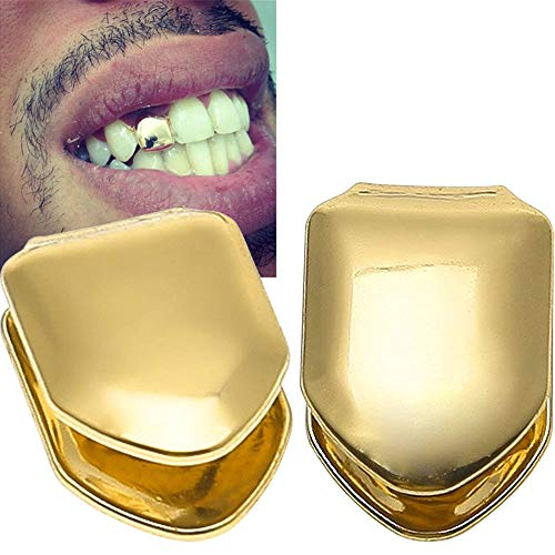 Onwon 2 Pieces 14K Plated Gold Grillz Hip Hop Top Tooth Single Grill Cap for Teeth -