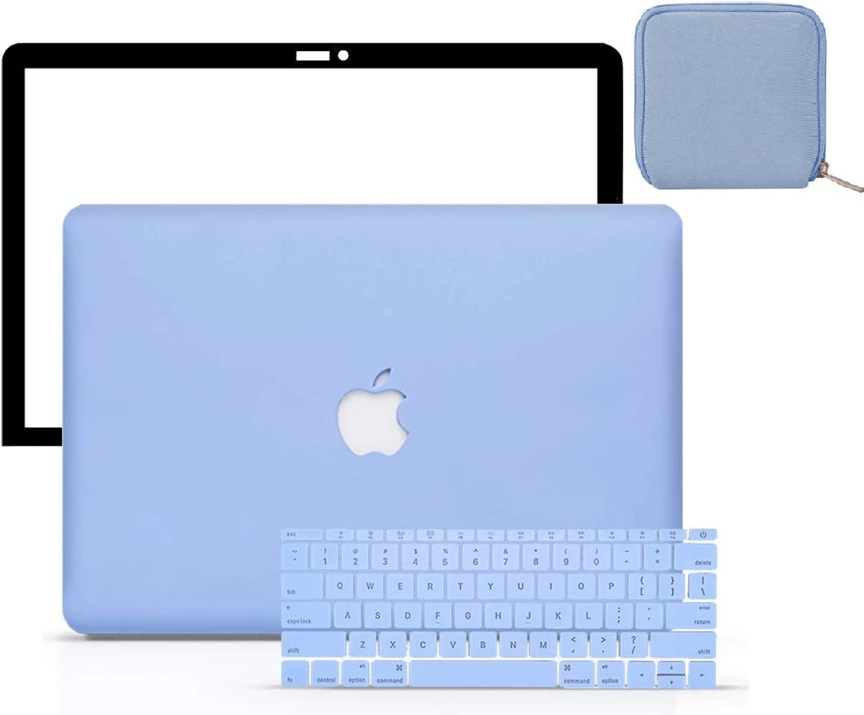 """LuvCase 4 in 1 LaptopCase forMacBookMacBook Pro 12"""" Retina A1534HardShellCover, Pouch, Keyboard Cover & Screen Protector(Serenity Blue)"""