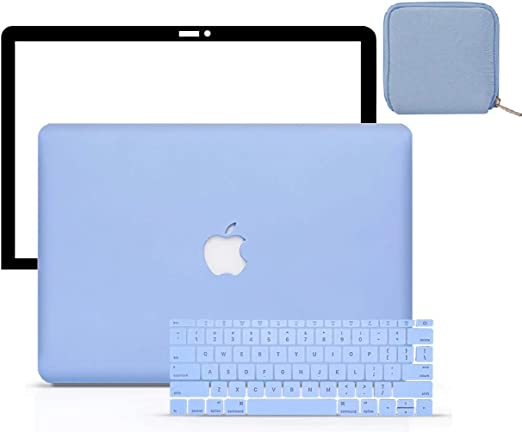 LuvCase 4 in 1 Laptop Case Compatible with MacBook New Air 13 Inch (2021/2020) A2337 M1/A2179 (Touch ID) Retina DisplayHardShellCover, Pouch, Keyboard Cover & Screen Protector (Serenity Blue)