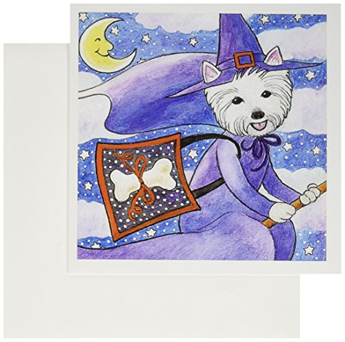 [3dRose Greeting Cards, West Highland Terrier Westie in Costume Witch Halloween Halloween Westie Dog, Set of 6 (gc_23301_1)] (Westies In Costumes)