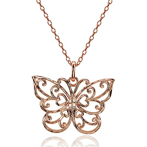 Hoops & Loops Rose Gold Flashed Sterling Silver High Polished Diamond-Cut Filigree Butterfly Pendant Necklace