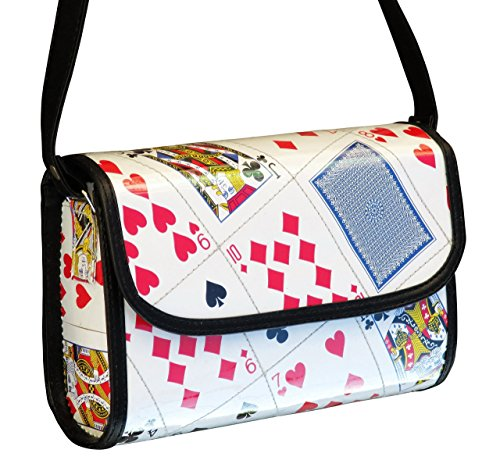 Medium crossbody using playing cards - FREE SHIPPING, upcycled style eco friendly vegan recycled reclaimed repurposed materials play card las vegas casino gift gifts for poker bridge player players