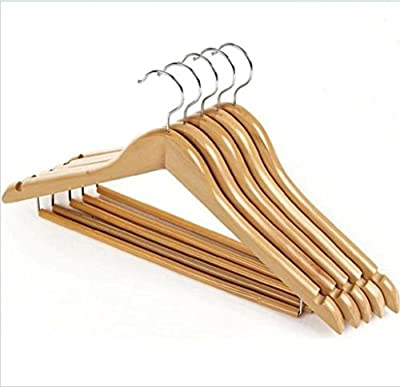 GFYWZ Clothes hanger Solid Wood Black Non-slip Sturdy Durable Extra Wide Clothing store Sweater and Pant Adult Hangers