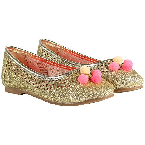Billieblush Mädchen Ballerinas mit Pompom´s in Glitter, Ballerina, Sandale, Kinder Schuhe, V19134 Z98 dore