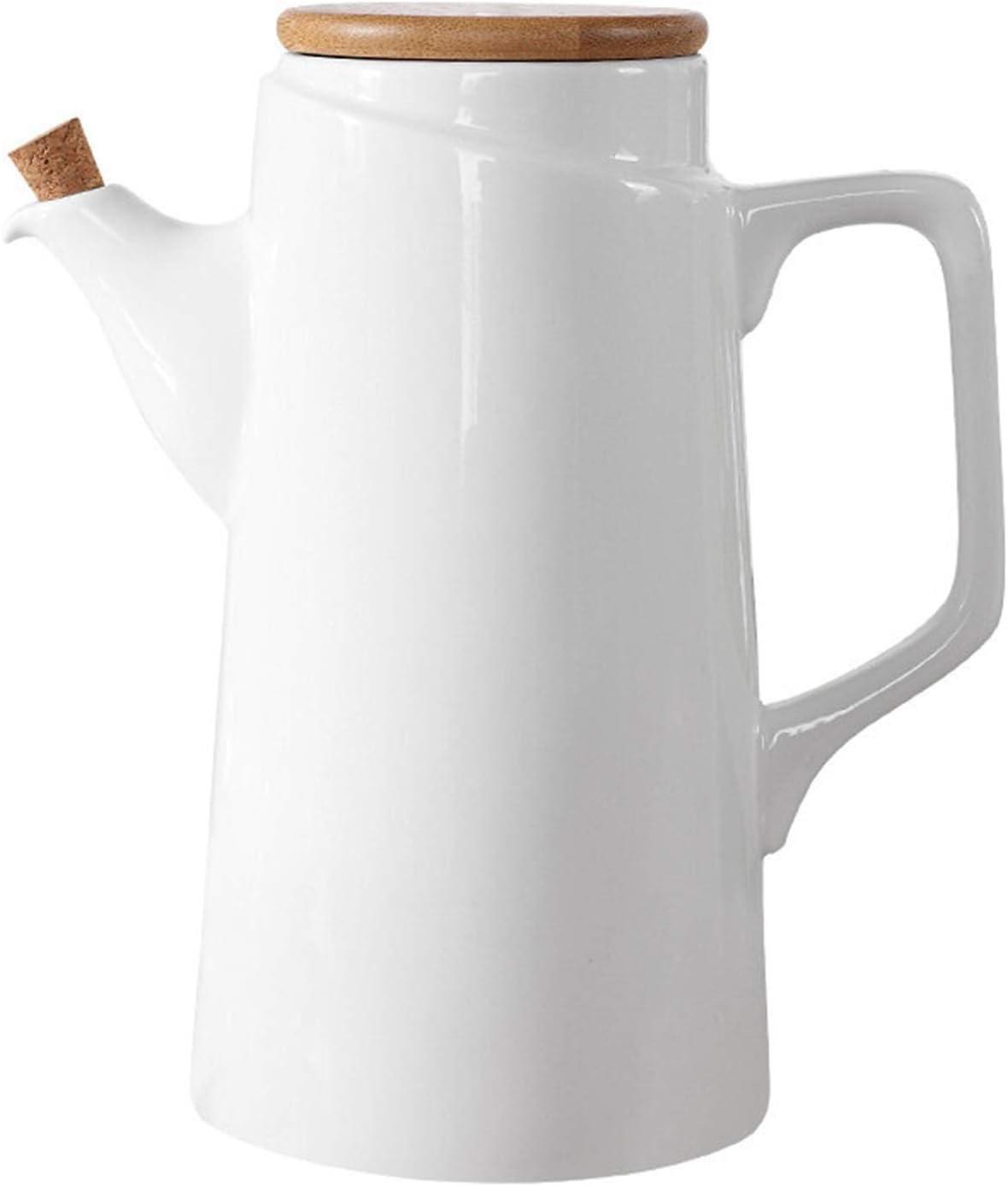 Oil and Vinegar Dispenser Bottle Set, Olive Oil or Soy Sauce Dispenser Set for Kitchen, White Ceramic (Porcelain) Oil Dispenser Cruet, Dressing Dispenser Bottle, Olive Oil Decanter, Decorative Oil Dis