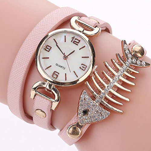 Price comparison product image BCDshop New Women Fashion Casual Analog Quartz Wing Watch Unique Rhinestone Fish Bone Bracelet Wristwatch (Pink,  alloy)