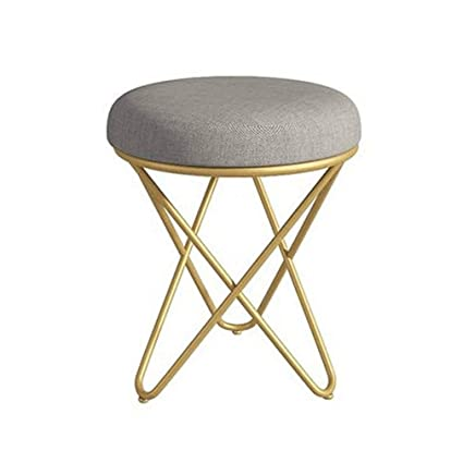 Marvelous Amazon Com Ycsd Vanity Stool Round Upholstered Linen Pouffe Dailytribune Chair Design For Home Dailytribuneorg