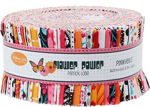 Flower Power Orange Pinwheel 40 2.5-inch Strips Jelly Roll Patrick Lose Fabrics ()