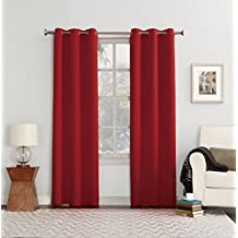 "Sun Zero 48053 Easton Blackout Energy Efficient Grommet Curtain Panel, 40 x 63"", Red"