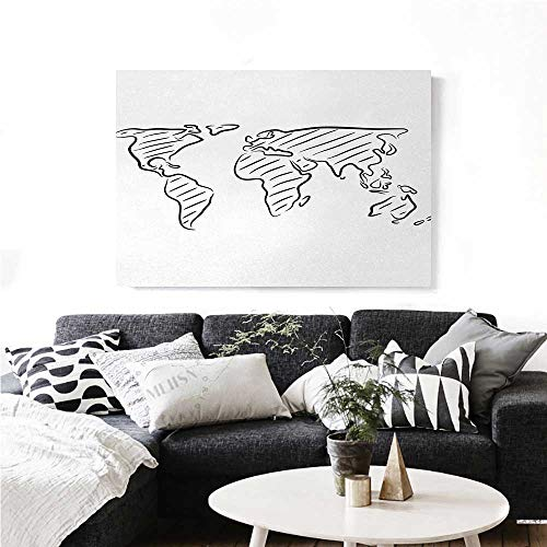 homehot World Map Canvas Wall Art for Bedroom Home Decorations Illustration of Outline Sketch of The World Map in Drawing Effect Artwork Print Art Stickers 20