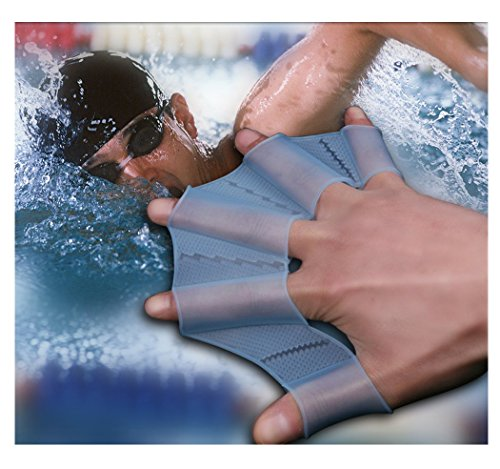 TOPCABIN Silicone Swim Gear Fins Hand Webbed Flippers Training Glove for Swimming,Surfing,Diving,Water Exercise-Increased Water Resistance,Strengthen and Tone Muscles (Blue, S, M, L each pair)