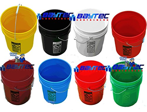 5 Gallon (20L) Plastic Buckets, 3-Pack - Maroon by BayTec (Image #2)